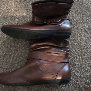 Lower East Side brown faux leather booties